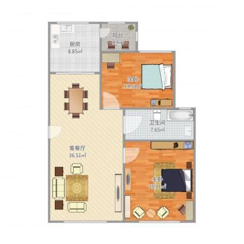 东方名筑-馥园2室1厅1卫1厨121.00㎡户型图