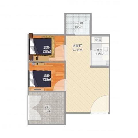 临江二村2室1厅1卫1厨72.00㎡户型图