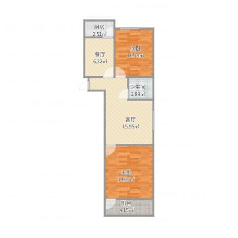经二路单位宿舍2室2厅1卫1厨77.00㎡户型图