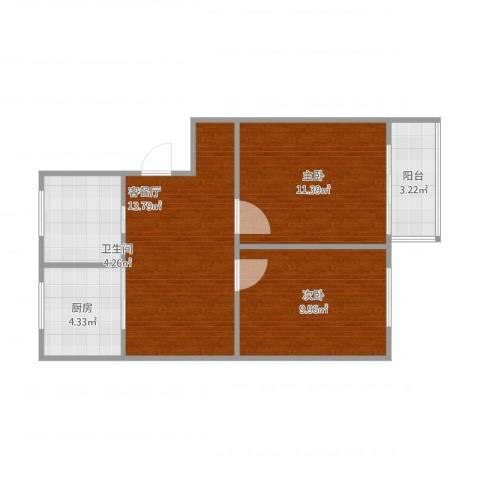 长江花园2室1厅1卫1厨64.00㎡户型图