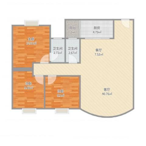 丽日华庭3室1厅2卫1厨113.00㎡户型图