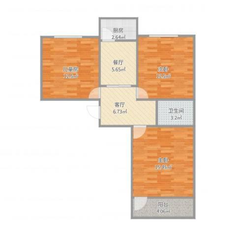 回民小区76平3室2厅1卫1厨68.16㎡户型图