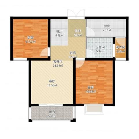 九悦鸿城2室1厅1卫1厨120.00㎡户型图