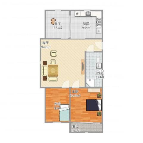 春山华居2室2厅1卫1厨81.00㎡户型图