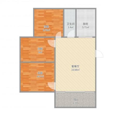 邮电新村3室1厅1卫1厨91.00㎡户型图