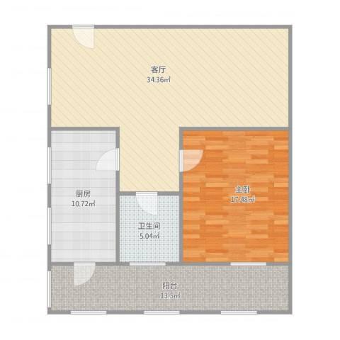 中光明街宿舍1室1厅1卫1厨108.00㎡户型图