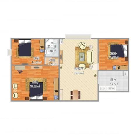 如东中央广场3室1厅1卫1厨116.00㎡户型图