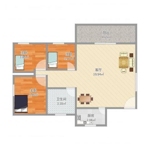 岐海苑3室1厅1卫1厨58.00㎡户型图