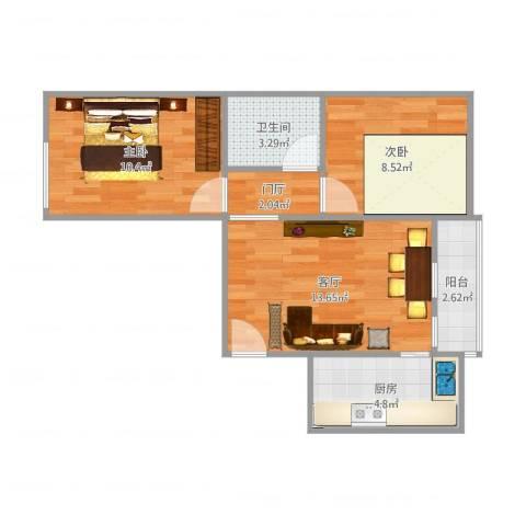 当代名筑2室1厅1卫1厨63.00㎡户型图