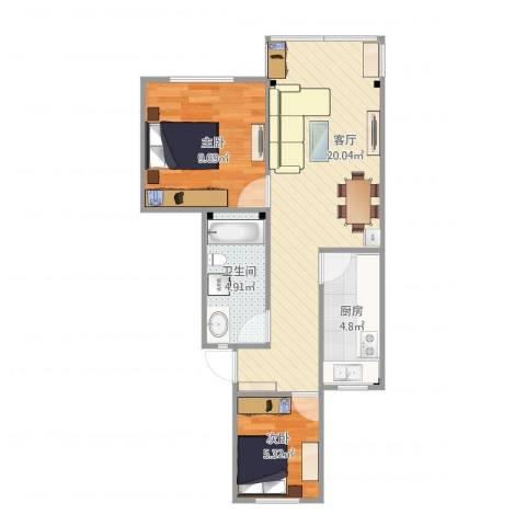 滨河公寓2室1厅1卫1厨61.00㎡户型图