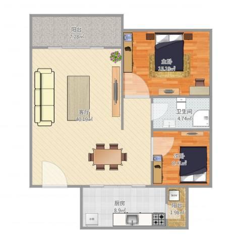 华鸿水云轩2室1厅1卫1厨116.00㎡户型图