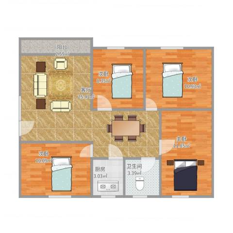 金溪花园4室1厅1卫1厨102.00㎡户型图