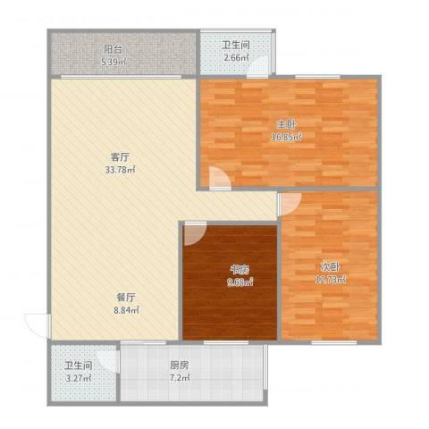 华景苑3室1厅2卫1厨111.00㎡户型图