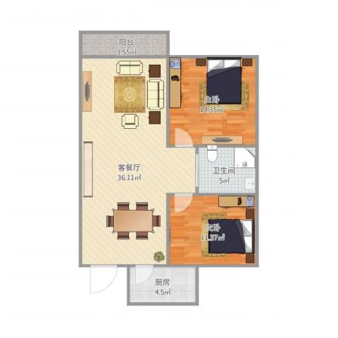 康逸豪园2室1厅1卫1厨100.00㎡户型图