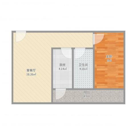 卓雅苑1室1厅1卫1厨56.00㎡户型图