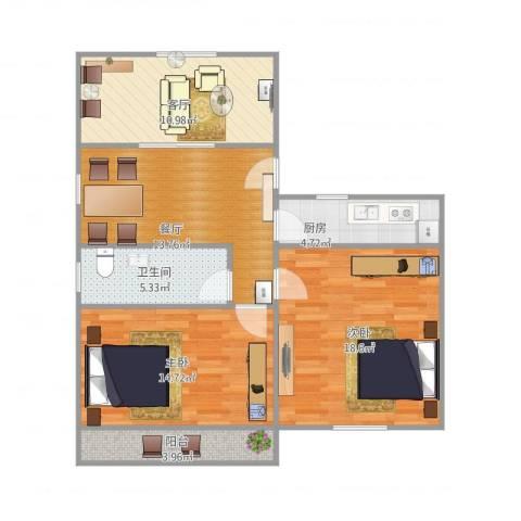 陈家宅小区2室1厅1卫1厨98.00㎡户型图