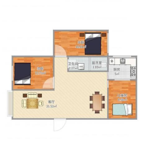 金溪花园3室2厅1卫1厨95.00㎡户型图