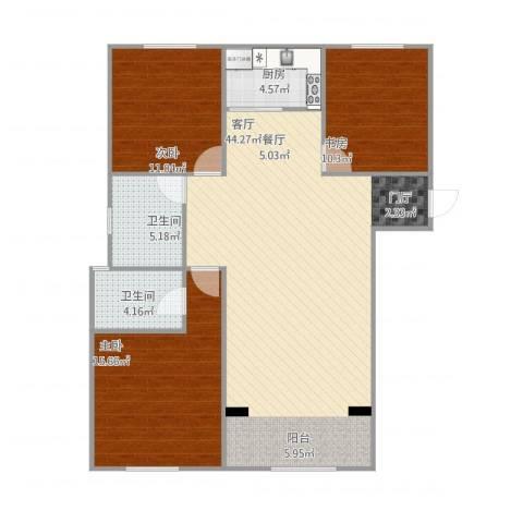 东方米兰国际城3室1厅2卫1厨127.00㎡户型图