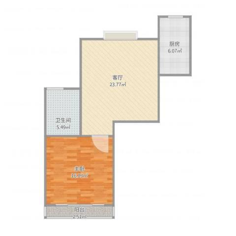 嘉城新航域1室1厅1卫1厨72.00㎡户型图