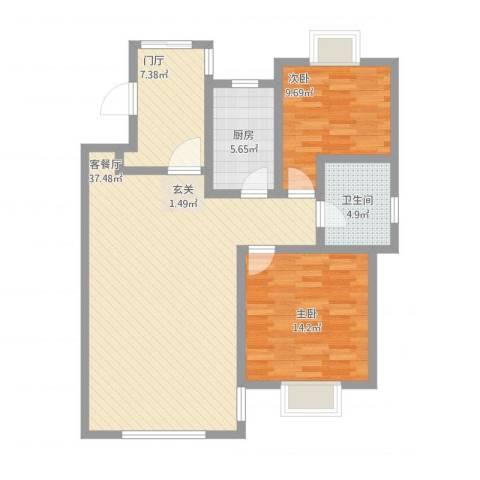 天房意墅2室1厅1卫1厨113.00㎡户型图