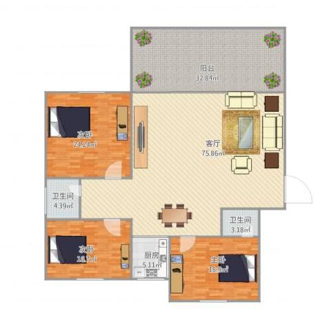 融景居(科技大厦)3室1厅2卫1厨238.00㎡户型图