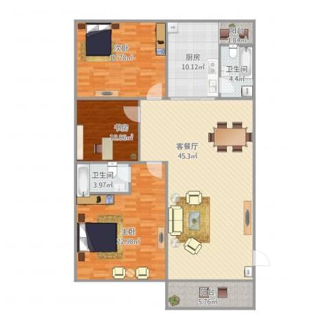 康逸豪园3室1厅2卫1厨162.00㎡户型图