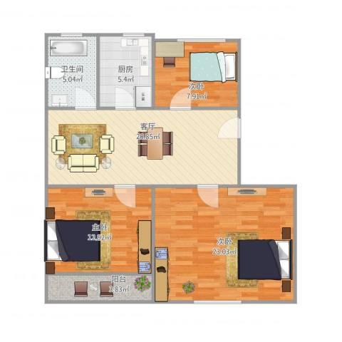 东沟三村3室1厅1卫1厨106.00㎡户型图