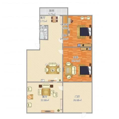 洪楼西路单位宿舍2室2厅1卫1厨188.02㎡户型图