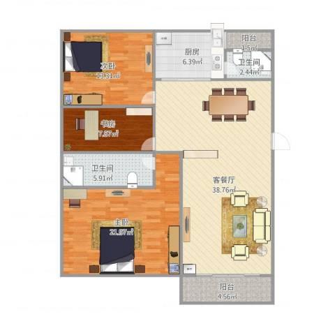 康逸豪园3室1厅2卫1厨138.00㎡户型图