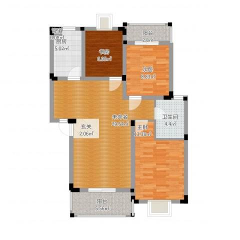 唐明园3室1厅2卫1厨110.00㎡户型图