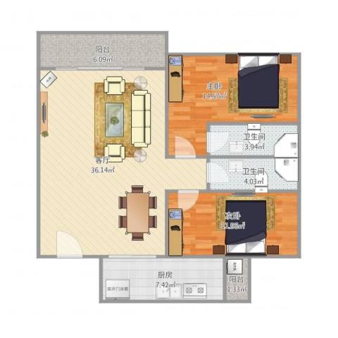 华鸿水云轩2室1厅2卫1厨115.00㎡户型图
