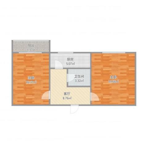 铁工东里2室1厅1卫1厨76.00㎡户型图