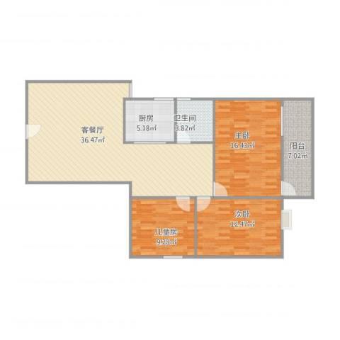 华远大厦3室1厅1卫1厨121.00㎡户型图