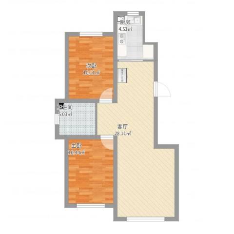 新星宇和源2室1厅1卫1厨82.00㎡户型图