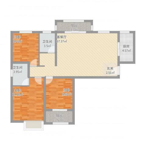 冠捷・观邸3室1厅2卫1厨129.00㎡户型图
