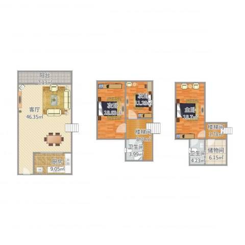 华鸿水云轩3室1厅2卫1厨184.00㎡户型图