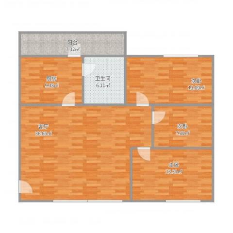 唐园3室1厅1卫1厨125.00㎡户型图