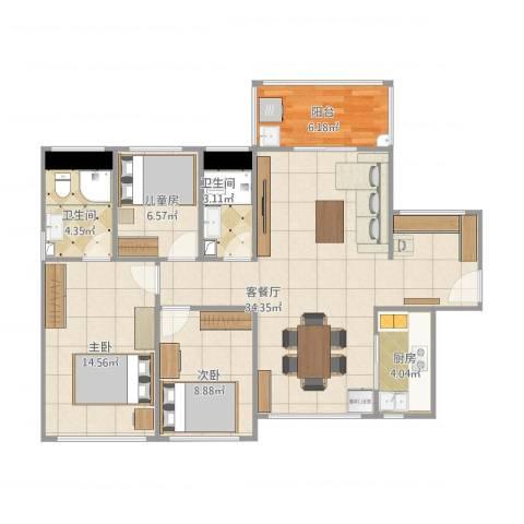 尚书悦府3室1厅2卫1厨114.00㎡户型图