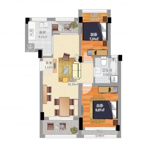 康桥月苑2室1厅1卫1厨72.00㎡户型图