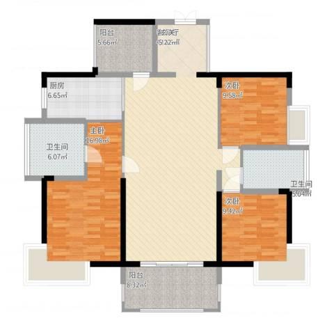 宝能太古城3室1厅2卫1厨156.00㎡户型图