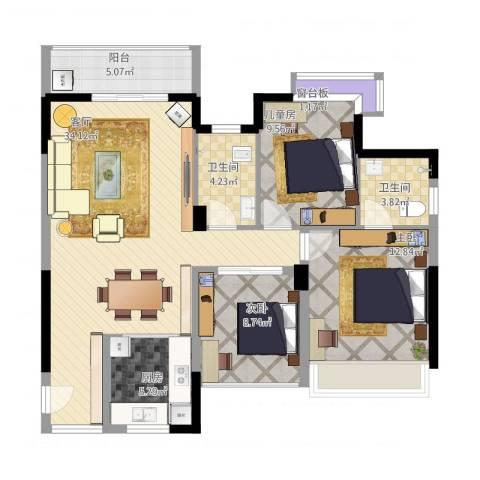 广基・自由星城3室1厅3卫1厨121.00㎡户型图