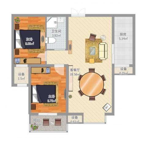 西部枫景傲城2室1厅1卫1厨89.00㎡户型图