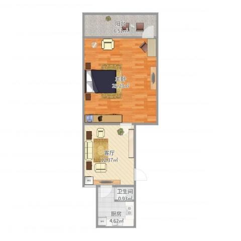 历园新村1室1厅1卫1厨53.34㎡户型图