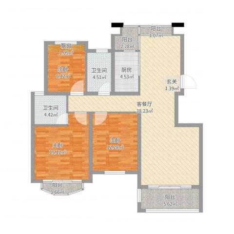 坞城世纪花园3室1厅2卫1厨112.00㎡户型图