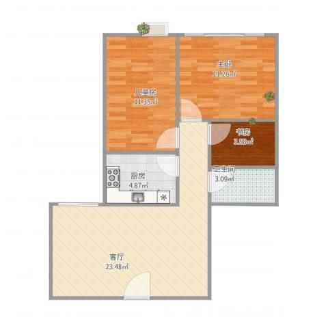 白云路小区3室1厅1卫1厨78.00㎡户型图