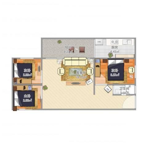 罗村花苑A区好景阁604.85M3室1厅1卫1厨88.00㎡户型图