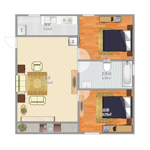 IN北京公寓2室1厅1卫1厨83.00㎡户型图