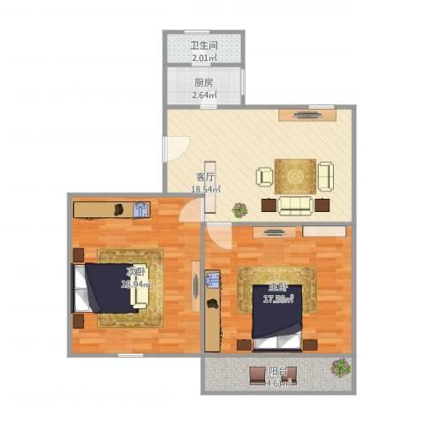 东陆新村六街坊2室1厅1卫1厨86.00㎡户型图