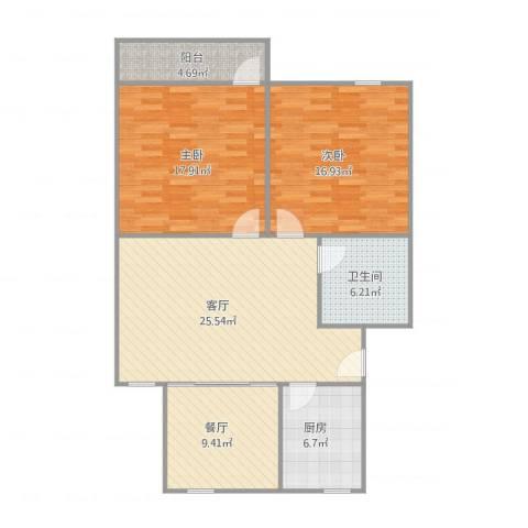 育秀九区2室2厅1卫1厨117.00㎡户型图