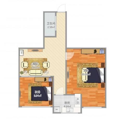 小关东街2室1厅1卫1厨78.00㎡户型图
